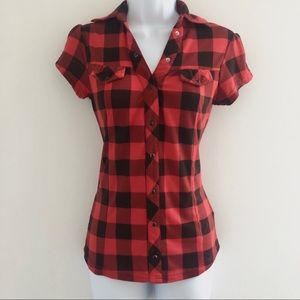 Forever 21 • Buffalo Plaid Snap Up Top